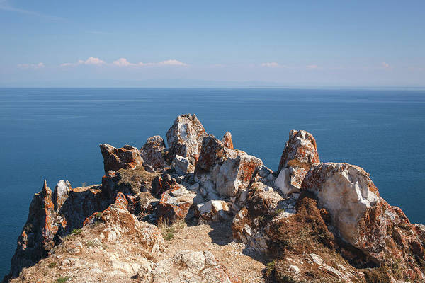 Photograph - Red Rocks On Blue Sky And Water Background by Sergey Taran