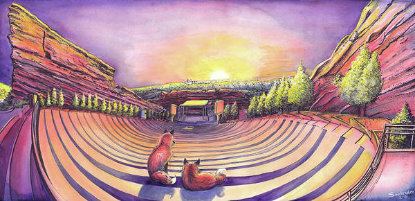 Painting - Foxes At Red Rocks Sunrise by David Sockrider