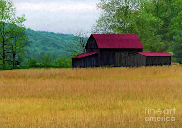 Hillside Wall Art - Digital Art - Red Roof Barn by Elijah Knight