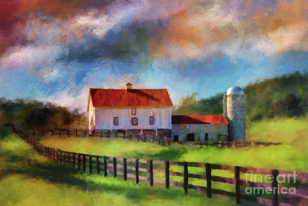 Digital Art - Red Roof Barn by Lois Bryan