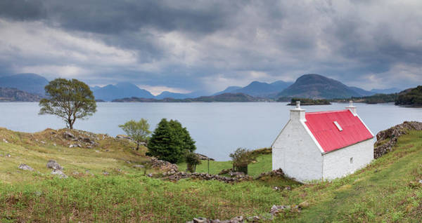 Red Roof Photograph - Red Roof Cottage Near Sheildaig On The North Coast 500, Scotland by Anita Nicholson
