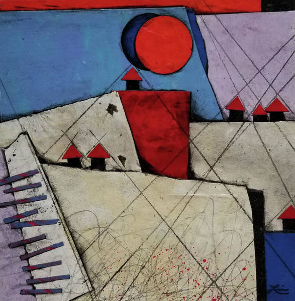 Wall Art - Mixed Media - Red Roof Village  by Laura Lein-Svencner
