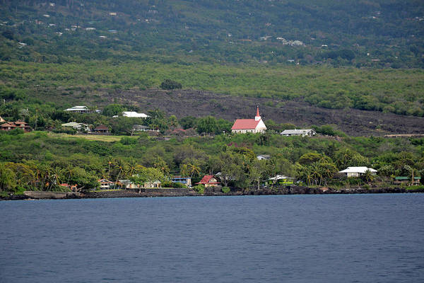 Photograph - Red-roofed Church On Hawaii Coast by Bruce Gourley