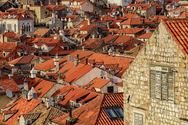 Photograph - Red Roofs And Stone Buildings As Seen From The City Walls, Dubrovnik, Croatia by Global Light Photography - Nicole Leffer