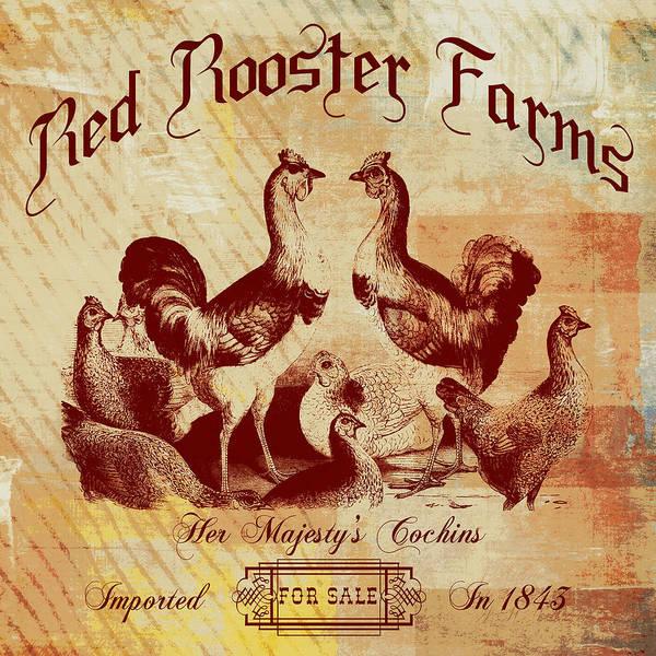 Wall Art - Digital Art - Red Rooster Farms Vintage by Brandi Fitzgerald