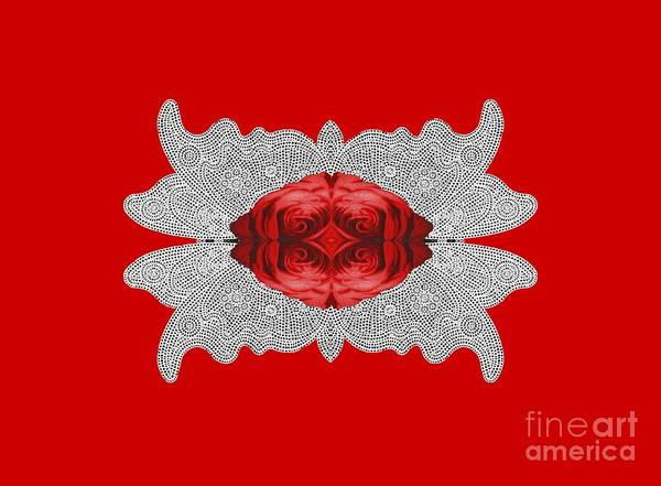 Crochet Digital Art - Red Rose Abstract On Digital Lace by Linda Phelps