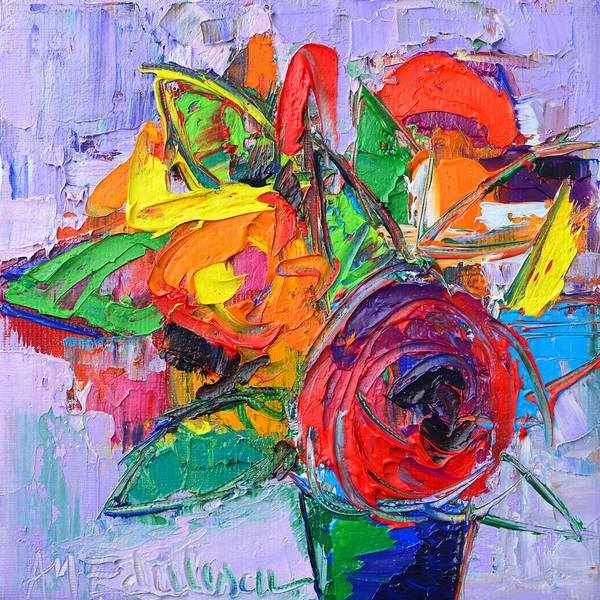 Wall Art - Painting - Red Rose And Wildflowers Abstract Modern Impressionist Palette Knife Oil Painting Ana Maria Edulescu by Ana Maria Edulescu