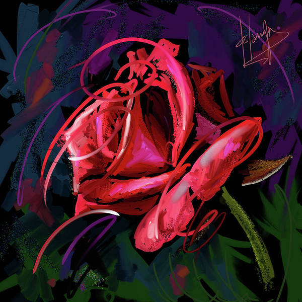 Painting - Red Rose by DC Langer