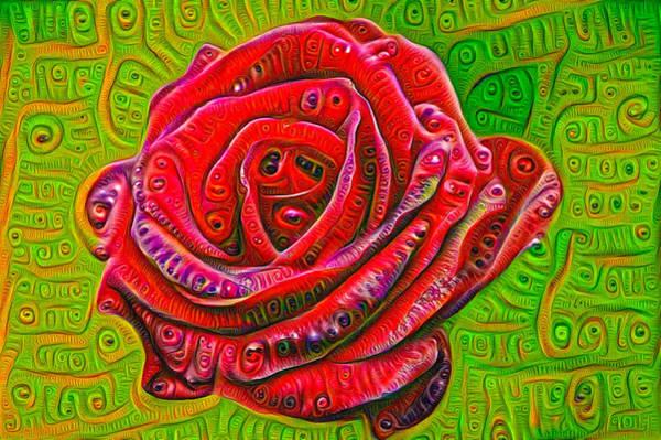 Digital Art - Red Rose Deep Dream Surreal Picture by Matthias Hauser