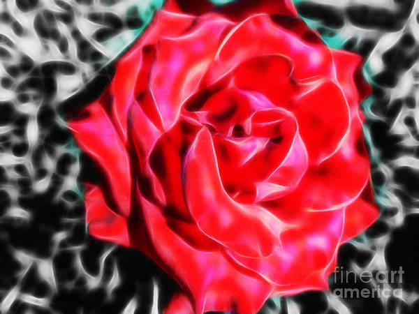 Red Rose Fractal Art Print