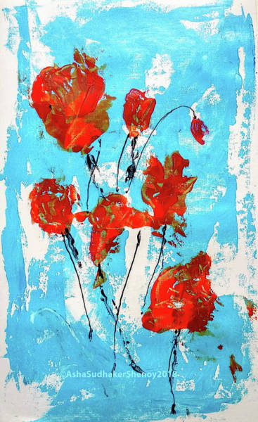 Painting - Red Roses And Sky by Asha Sudhaker Shenoy