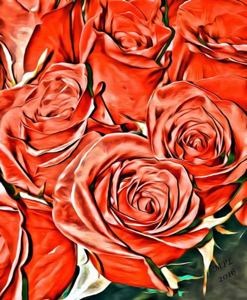 Painting - Red Roses by Marian Palucci-Lonzetta