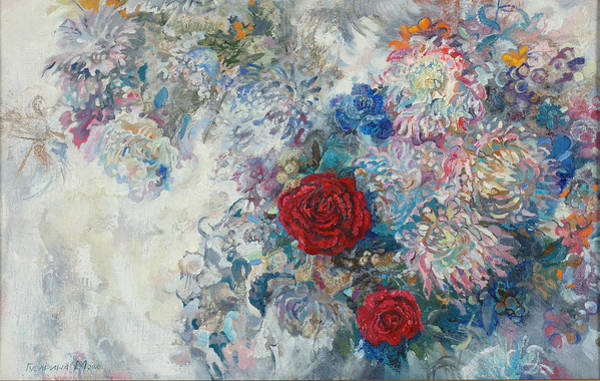 Russian Impressionism Wall Art - Painting - Red Roses by Maya Gusarina