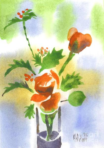Wall Art - Painting - Red Roses With Holly by Kip DeVore