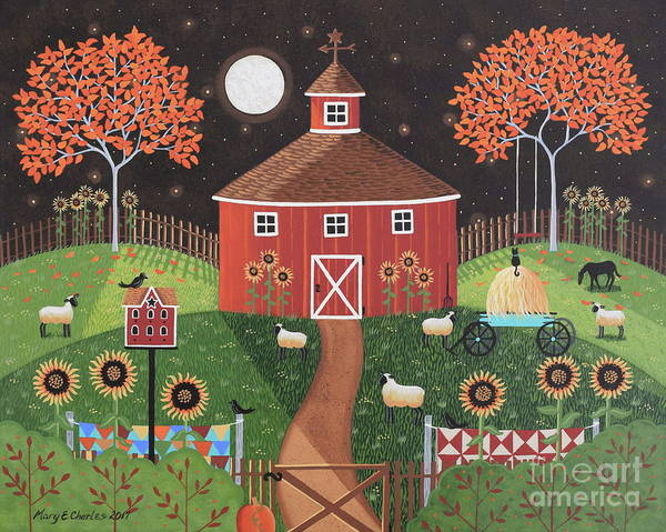 Birdhouse Painting - Red Round Barn by Mary Charles