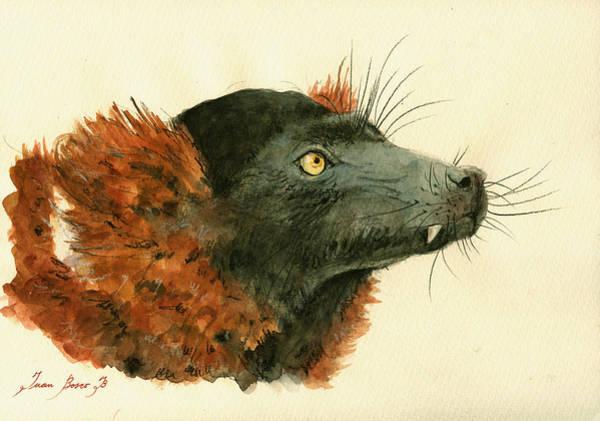 Lemur Wall Art - Painting - Red Ruffed Lemur by Juan  Bosco