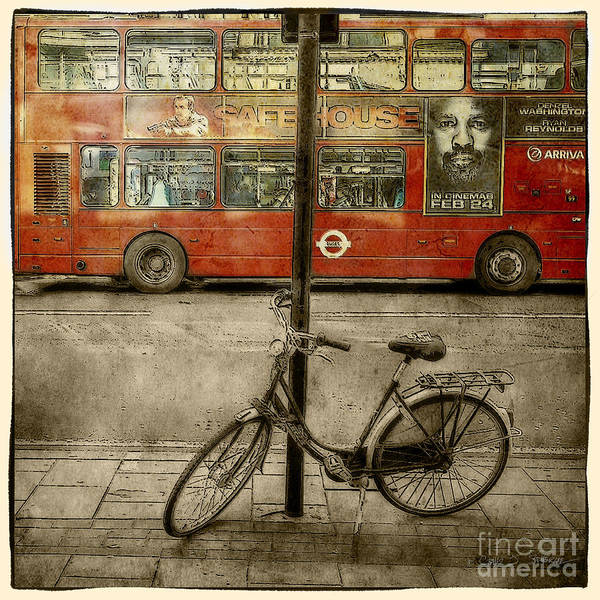 Photograph - Red Safe House Bus Bike by Craig J Satterlee