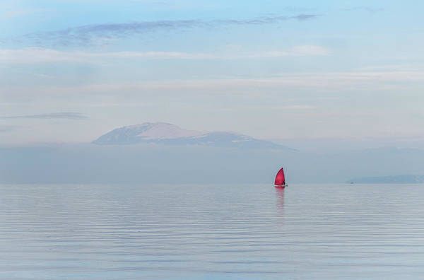 Photograph - Red Sailboat On Lake by Alexandre Rotenberg