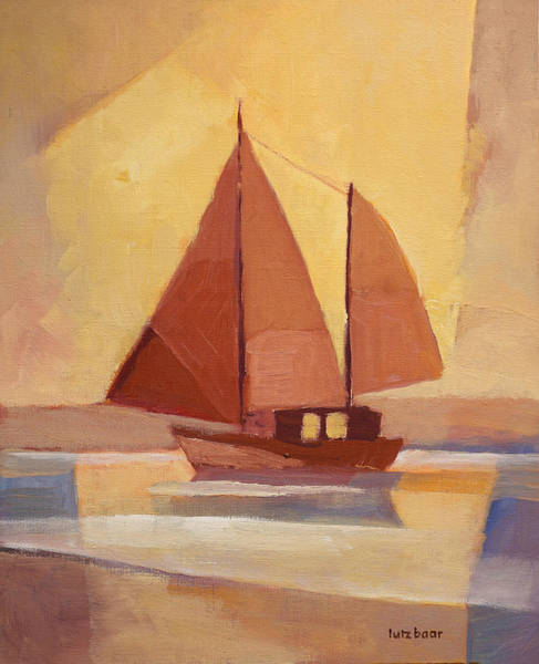 Impressionistic Sailboats Painting - Red Sails In The Sunset by Lutz Baar
