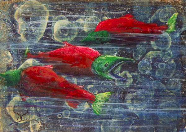 Spawn Painting - Red Salmon by Dee Carpenter