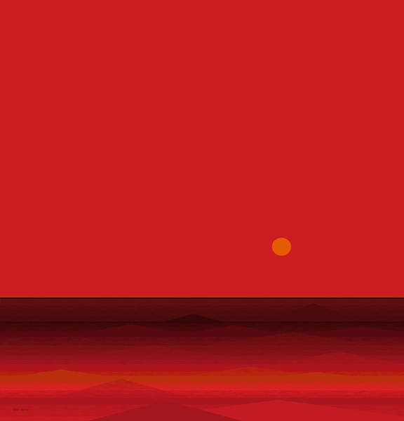 Digital Art - Red Seascape by Val Arie