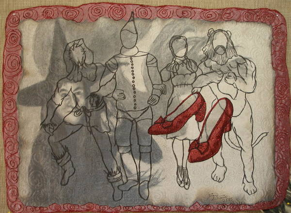Thread Mixed Media - Red Shoes by Diane  DiMaria