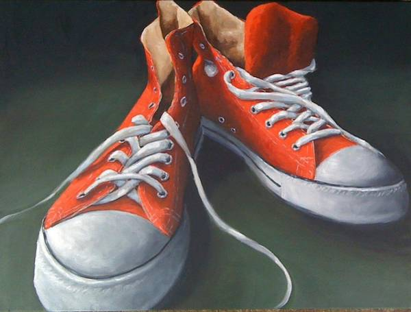 Sneakers Painting - Red Shoes by Sherry Hendrick