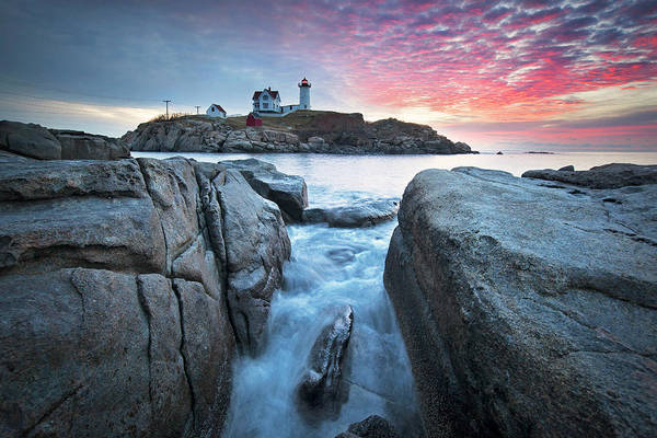 Wall Art - Photograph - Red Skies At Nubble Lighthouse by Eric Gendron