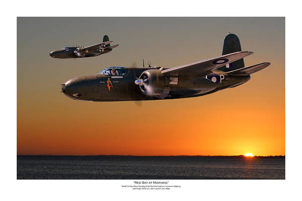 Wall Art - Digital Art - Red Sky At Morning - Titled Raaf Version by Mark Donoghue