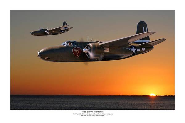 Usaaf Wall Art - Digital Art - Red Sky At Morning - Titled Usaaf 312bg Version by Mark Donoghue