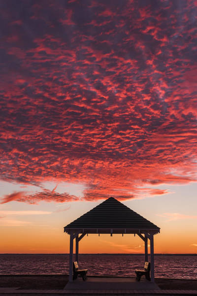 Photograph - Red Sky At Night Gazebo Seaside New Jersey by Terry DeLuco