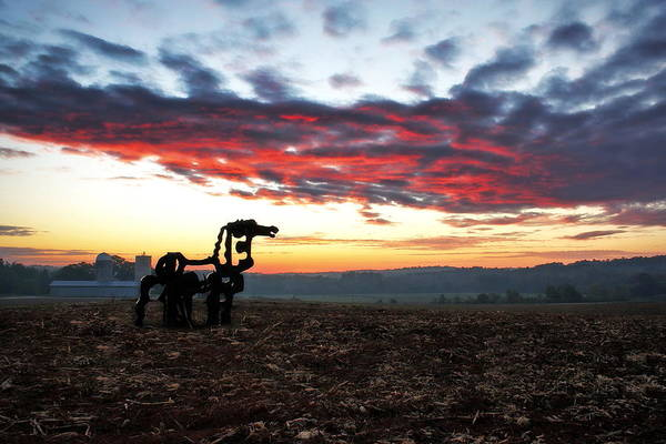 Photograph - Red Sky Dawn The Iron Horse by Reid Callaway