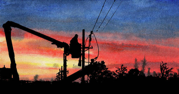 Power Distribution Mixed Media - Red Sky Evening On The Line by R Kyllo
