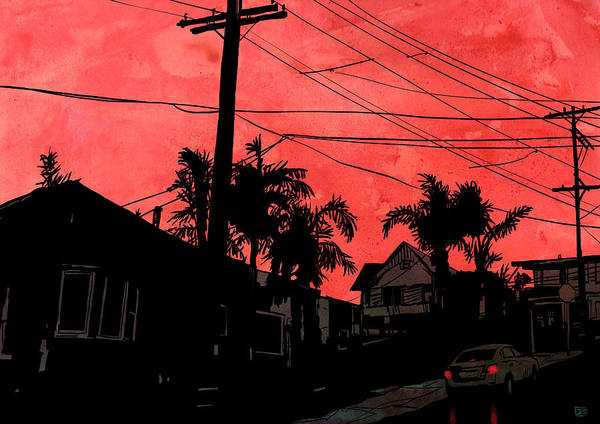 Urban Drawing - Red Sky by Giuseppe Cristiano