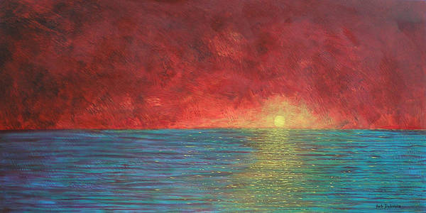 Oceanscape Painting - Red Sky  by Herb Dickinson