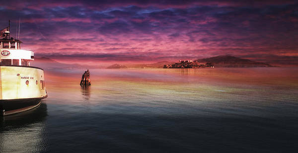 Photograph - Red Sky Over Alcatraz by Michael Hope