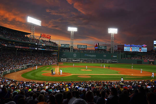 Outfield Wall Art - Photograph - Red Sky Over Fenway Park by Toby McGuire
