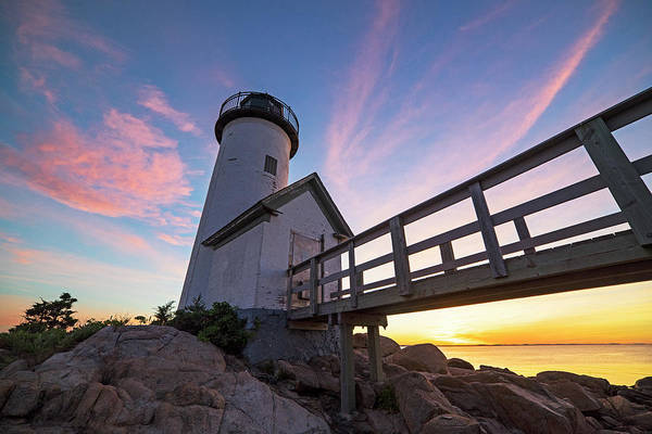 Photograph - Red Sky Over The Annisquam Lighthouse In Gloucester Ma by Toby McGuire