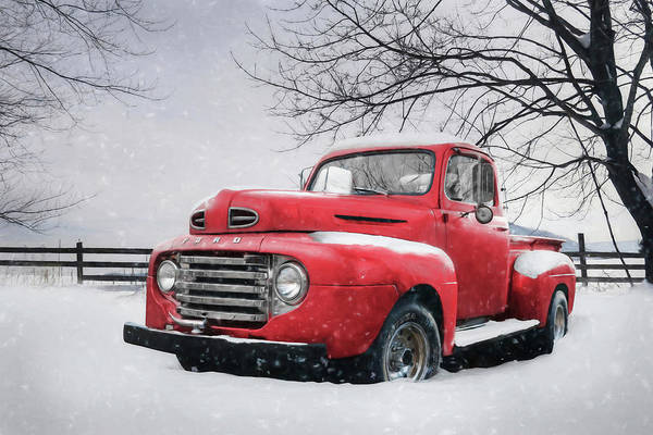 Pickup Man Photograph - Red Snowy Ford by Lori Deiter