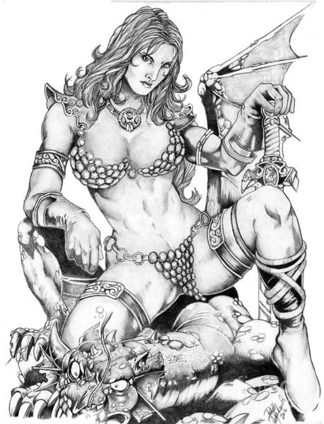 Drawing - Red Sonja by Bill Richards