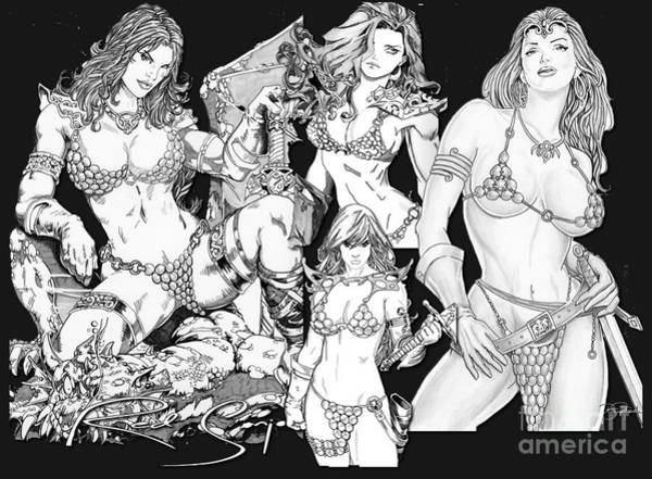 Drawing - Red Sonja Collage by Bill Richards