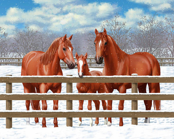 Wall Art - Painting - Red Sorrel Quarter Horses In Snow by Crista Forest