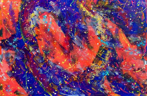 Wall Art - Painting - Red Space Glitter 15-15 by Patrick OLeary