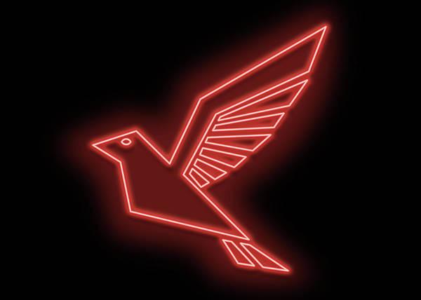 Wall Art - Digital Art - Red Sparrow Neon Sign by Ricky Barnard
