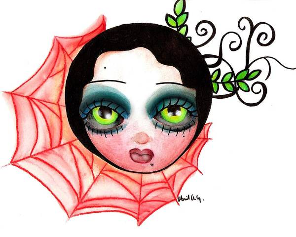 Tattoo Flash Painting - Red Spider Web by Abril Andrade Griffith
