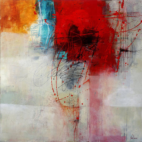 Abstract Acrylic Painting - Red Splash 1 by Jane Davies