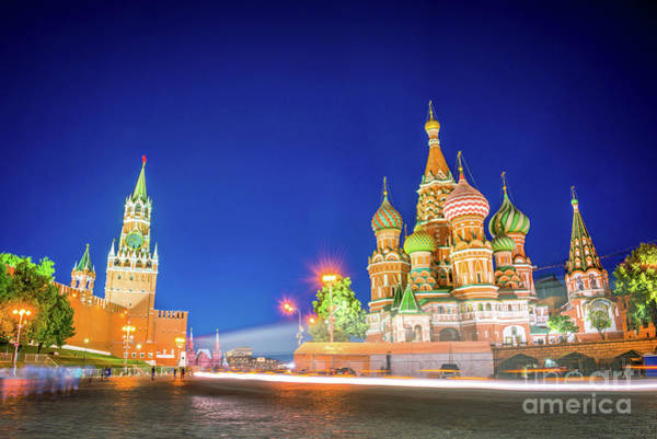 Blue Hour Photograph - Red Square At Night by Delphimages Photo Creations