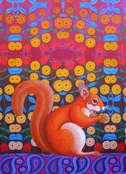 Red Squirrel Wall Art - Painting - Red Squirrel by Jane Tattersfield