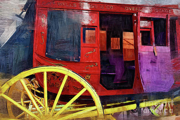 Prescott Digital Art - Red Stagecoach by Kirt Tisdale