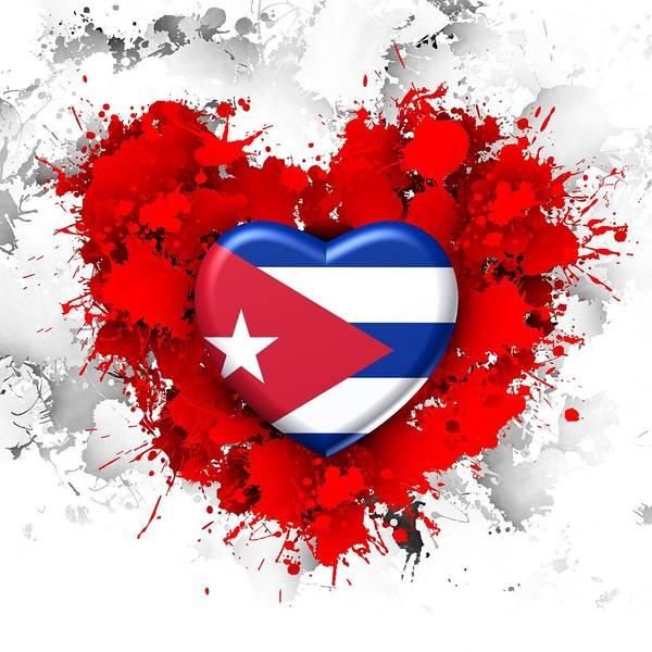Digital Art - Red Stain Love To Cuba by Alberto RuiZ